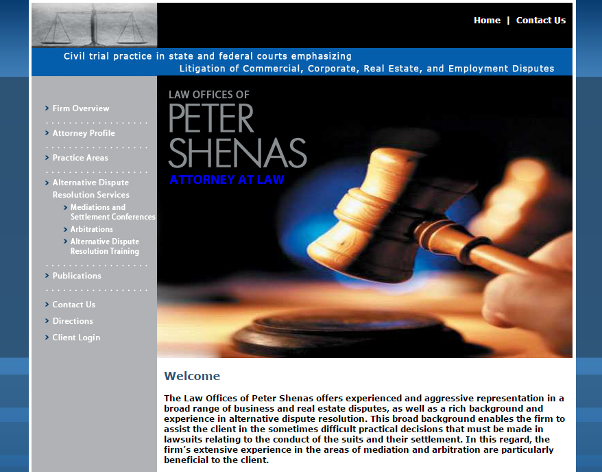 Peter Shenas Attorney At Law Web Design