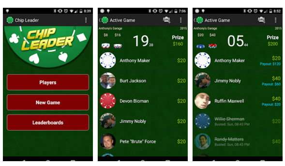 Chip Leader Poker Tracker App screenshots