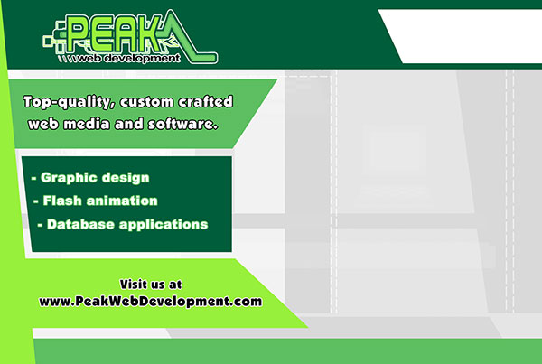 Direct Mail Design Back for Peak Web Development