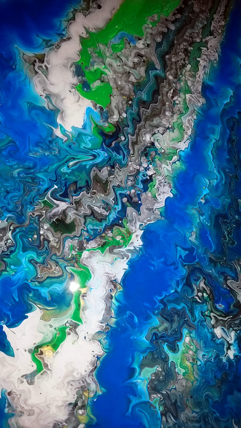 Fluid Acrylic Abstract Painting Close Up