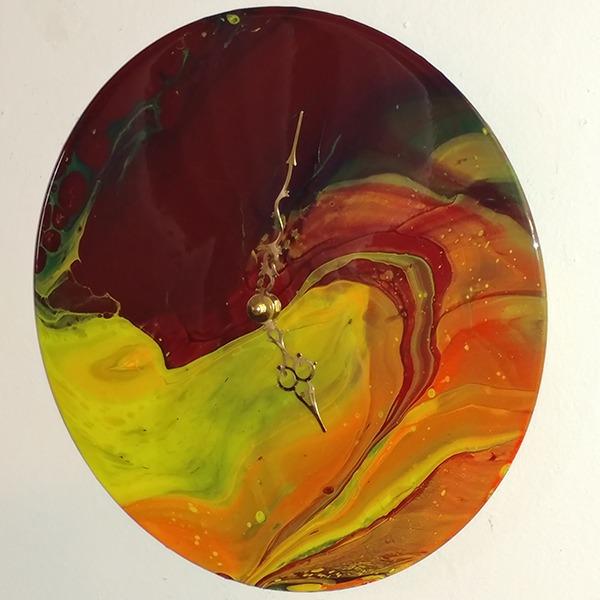 abstract art vinyl record clock
